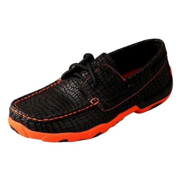 Twisted X Casual Shoes Womens Print Leather Lace Black Orange