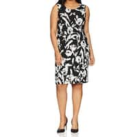 Kasper Black Womens Size 24W Plus Floral-Print Crepe Sheath Dress