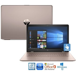 "HP 15-bs013cy Core i3-7100 2TB HDD 15.6"" HD Touch Screen Laptop with Office 365 - rose gold"