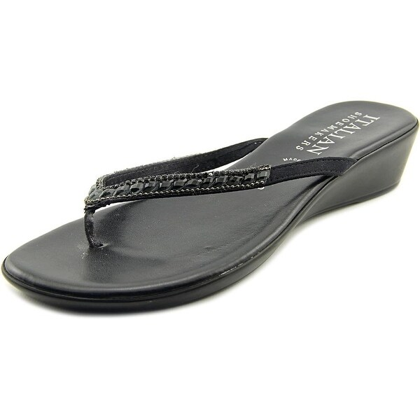 Italian Shoe Makers Hartley Women Open Toe Leather Black Thong Sandal