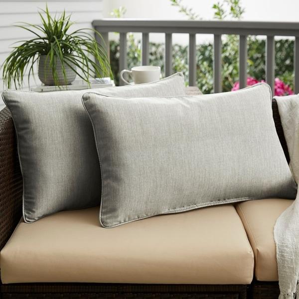 Sunbrella Canvas Granite Corded Indoor/Outdoor Pillows Set. Opens flyout.
