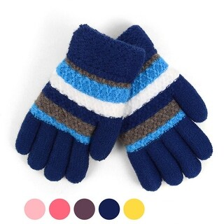 Junior's Tri-Color Striped Fleece Lined Winter Gloves