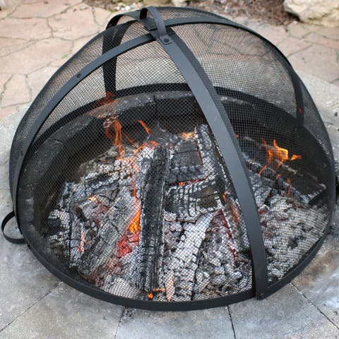 Sunnydaze Easy Access Fire Pit Spark Screen Lid Protector - 36-Inch Diameter