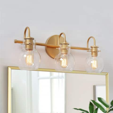 """Carson Carrington Gold Bathroom Vanity Lighting Wall Sconces for Powder Room - L22""""x W7""""x H9"""" - L22""""x W7""""x H9"""""""