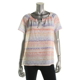 Alfred Dunner Womens Sunrise Point Printed Pleated Casual Top - 8