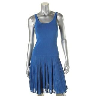 Ralph Lauren Womens Petites Flounce Dress Pleated Sleeveless