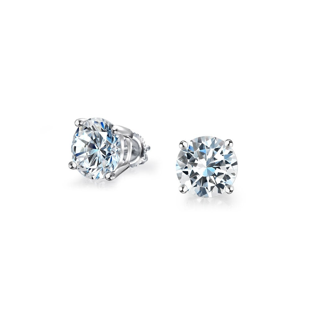 925 Sterling Silver Solid Round Brilliant Cut Cubic Zirconia Stud Gift Earrings