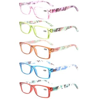 Eyekepper 5-Pack Spring Hinge Camouflage Temples Reading Glasses Women