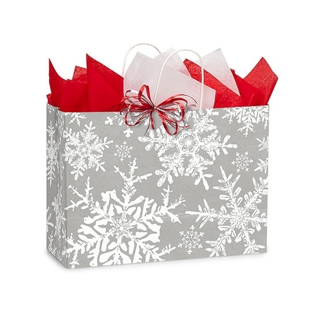 "Pack Of 250, Vogue 16 X 6 X 12.5"" Christmas Snowflakes Silver Paper Shopping Bag Made In Usa"