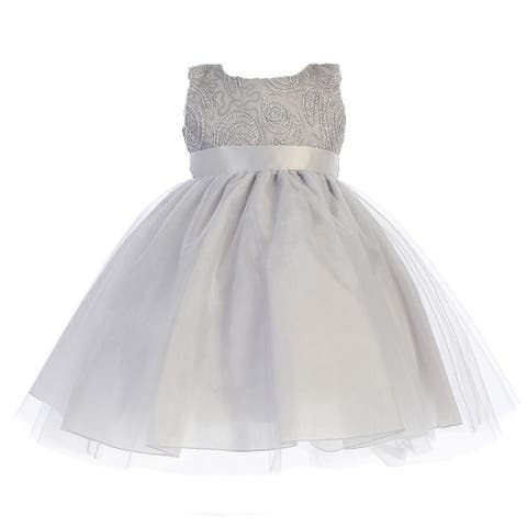Baby Girls Silver Glitter Corded Top Shiny Tulle Occasion Dress 3-24M - 3-6 Months