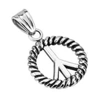 Stainless Steel Peace Symbol Within Rope Medallion Pendant (24 mm Width)
