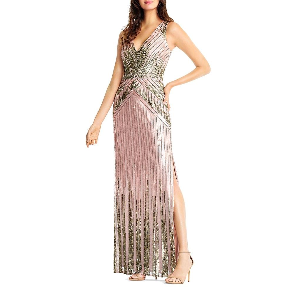 Aidan Mattox Womens Evening Dress Beaded V-Neck - Blush
