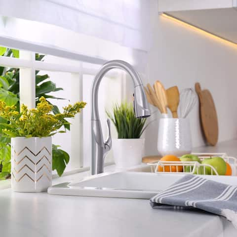 Kauai Collection. Pull-Down kitchen faucet. Brushed Nickel finish. By Lulani
