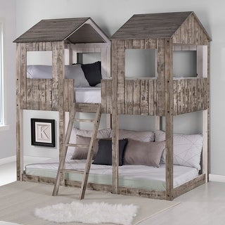 Link to Rustic White Pine Twin over Twin Tower Bunk Bed Similar Items in Kids' & Toddler Furniture