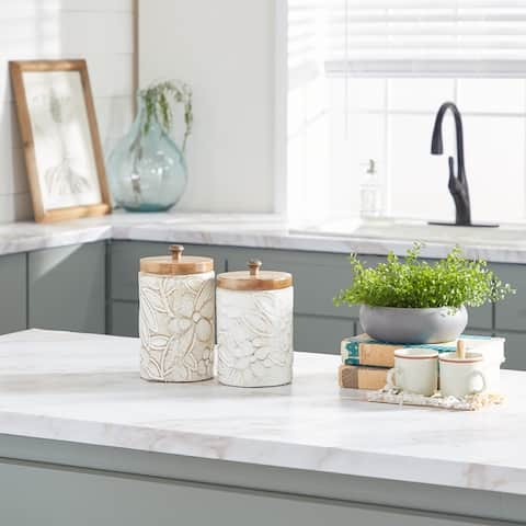 White Dolomite Farmhouse Decorative Jar (Set of 2) - 11 x 6 x 10