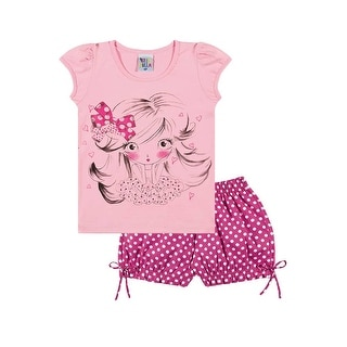 Toddler Girl Outfit T-Shirt and Polka Dot Shorts Set Pulla Bulla Sizes 1-3 Years