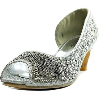 Unze London Rystah Youth Peep-Toe Canvas Silver Heels