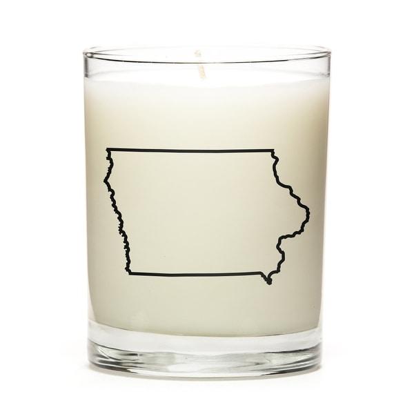 State Outline Candle, Premium Soy Wax, Iowa, Peach Belini