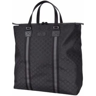 """Gucci 449179 Black Nylon GG Guccissima Web Trim XL Zip Close Tote Purse Bag - 17"""" x 17.5"""" x 6"""""""