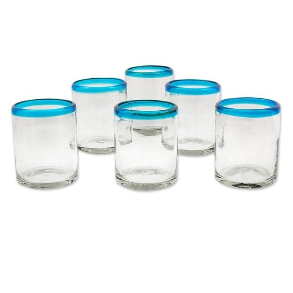 "NOVICA Handmade Blown glass juice glasses Aquamarine Kiss set of 6 (Mexico) - 3.9 "" H x 3.1"" Diam.. Opens flyout."