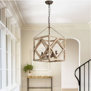 4-Light Rectangular Wood Candle Chandelier, Distressed White/Weathered Wood Island Light