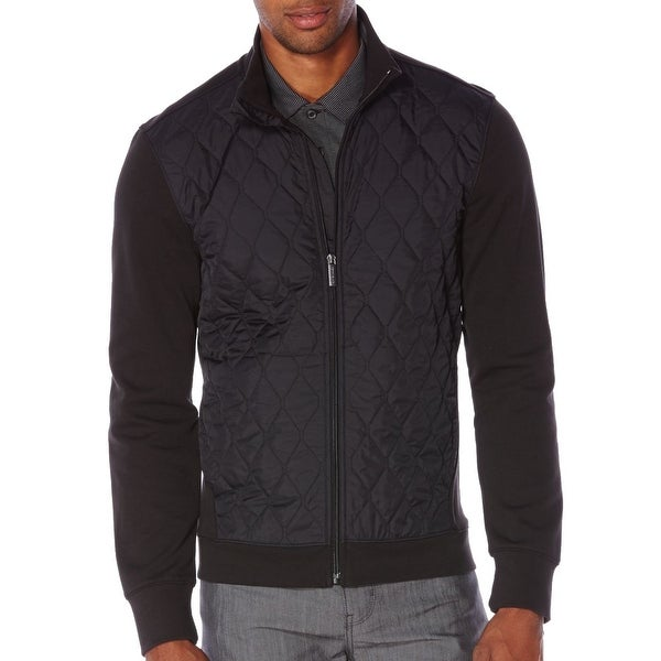533780c371 Shop Perry Ellis NEW Black Mens Size XL Mixed Media Quilted Full-Zip Jacket  - Free Shipping On Orders Over  45 - Overstock - 19751392