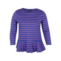 American Living Women's Striped Peplum Top
