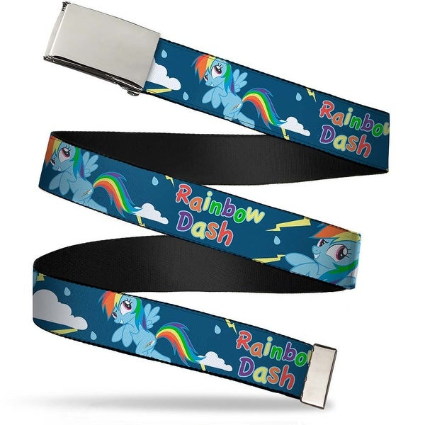 Blank Chrome Buckle Rainbow Dash 2 Poses Rain Clouds Bolts Blues Web Belt