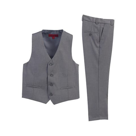 Little Boys Gray 2 Piece Vest Pants Formal Outfit Set
