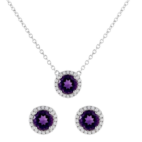 Round-Cut Halo Birthstone Gemstone Necklace & Earring Set, Sterling Silver