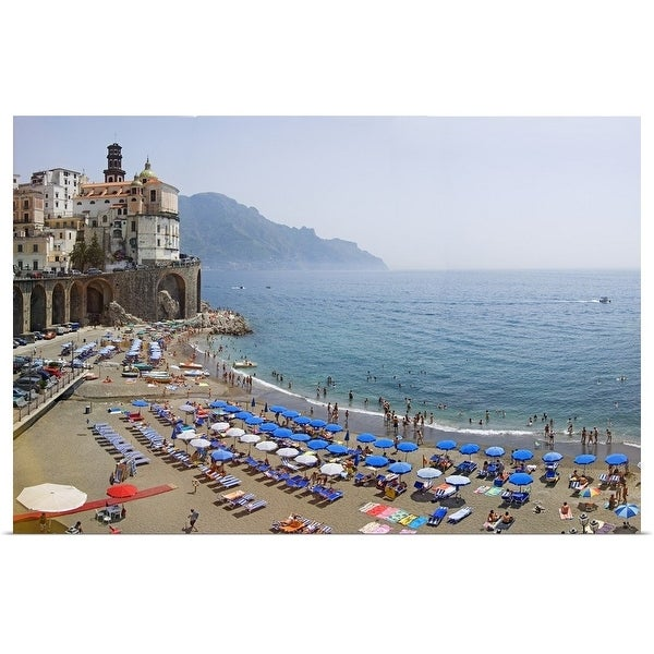 Poster Print entitled Houses on the sea coast, Amalfi Coast, Atrani, Salerno, Campania, Italy - Multi-color