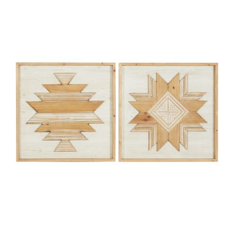 """White And Natural Hand Carved Square 2 Panel Wood Wall Decor 24"""" X 24"""" Set Of 2"""