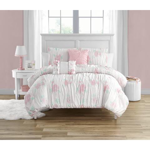 Tabitha Smocked Texture Pink Ultra Soft 5 PC Comforter Bedding Set