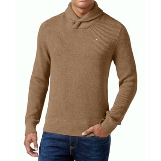 Tommy Hilfiger NEW Brown Camel Mens Size 3XL Shawl-Collar Ribbed Sweater