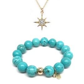 Turquoise Magnesite Bracelet & CZ Sunburst Gold Charm Necklace Set