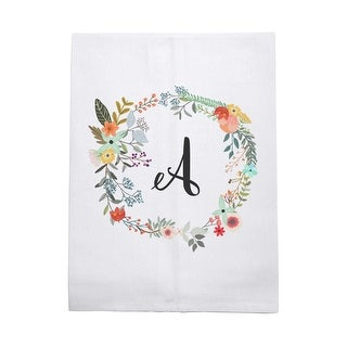 Flowered Farmgirl Printed Cotton Tea Towel with Choice of Letter