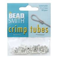 BeadSmith Crimp Tubes, 2.5x2.5mm, 100 Pieces, Silver Plated