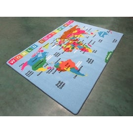 World Map 4x6 5x7 7x10 8x10 Feet Kids Area Rug Carpet Girls Boys Washable Rubber Back New