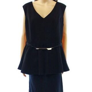 City Chic NEW Black Jacquard Belted Women's Plus Medium M Top Blouse