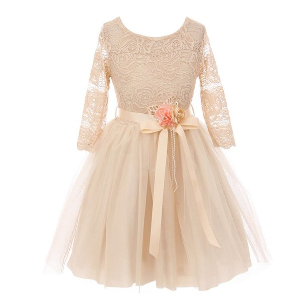 476630a5e3 Shop Girls Champagne Floral Lace Long Sleeve Mesh Flower Girl Dress - Free  Shipping On Orders Over  45 - Overstock - 19294102