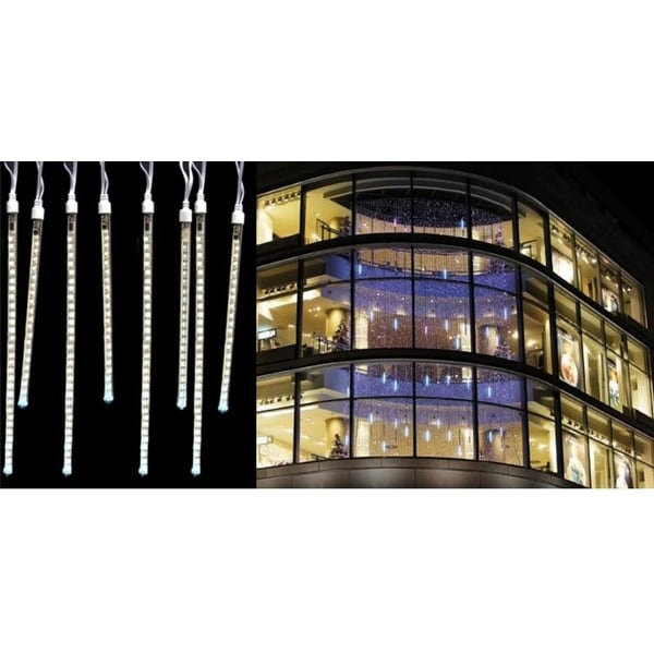 80 Pure White LED Dripping Icicle Tube Christmas Lights - 10.5 ft White Wire - CLEAR