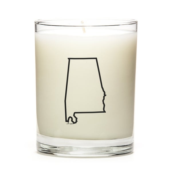 Custom Candles with the Map Outline Alabama, Lemon