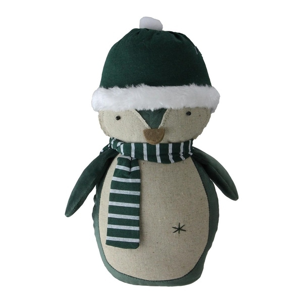 "10.25"" Green and Neutral Penguin with a Scarf Tabletop Decoration"