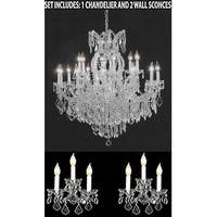 Swarovski Elements 3pc Lighting Set - Crystal Chandelier and 2 Wall Sconces - Silver