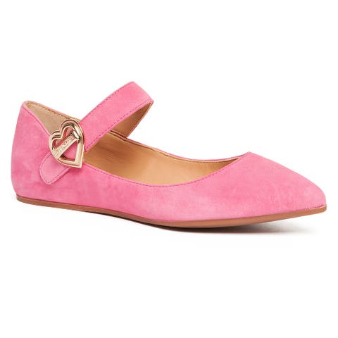 Love Moschino Pink Pointed Toe Mary Jane Flats