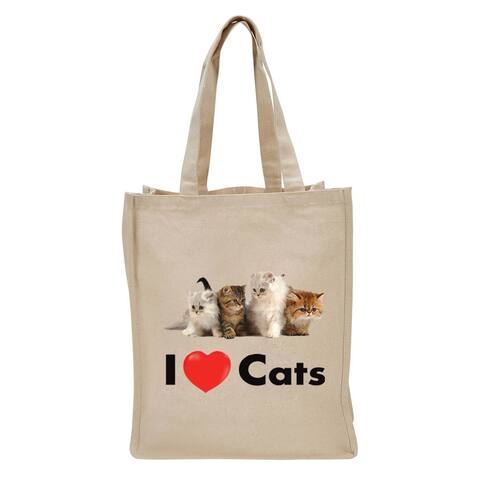 """17"""" Beige Reusable Shopping and Tote Bag with I Love Cats Design"""