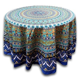 Floral Mandala Cotton Round Tablecloth For Square Tables Blue Green Tan  Purple Beach Sheet