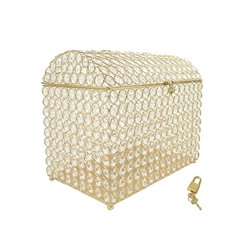 "Gold Luxury Crystal Bead Gift Card Box - 11"" H x 13"" W x 8"" DP"
