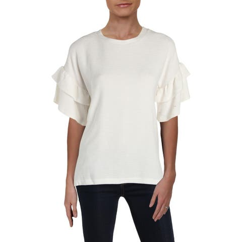 French Connection Womens Pullover Top Ribbed Ruffle Sleeves