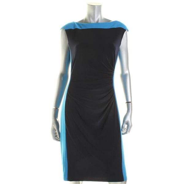Lauren Ralph Lauren Womens Gianne  Wear to Work Dress Colorblock Cap Sleeves